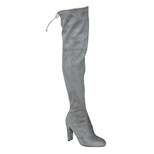 Women's AM01 Thigh High Over The Knee - Drawstring Block Chunky Heel Pointy Round Toe - Stretchy Thigh High Snug Fit Boots Grey SU 8.5