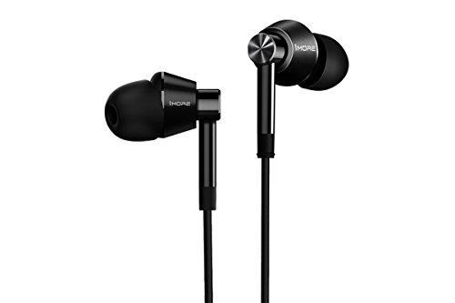 Price comparison product image 1MORE Dual Driver In Ear Headphones (Earphones, Earbuds) with Microphone (Black) (Certified Refurbished)
