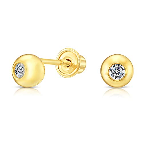 10k Yellow Gold Tiny Half Ball Bezel-Set CZ Stud Earrings with ()