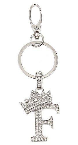 Sometheme Special Rhinestone Stud Initial Letter Charm Keychain, Key Ring, Bag Charm, Gift Box Included (RHODIUM-F)