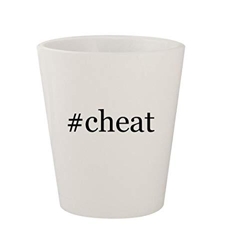 #cheat - Ceramic White Hashtag 1.5oz Shot Glass (Cheat Codes For Saints Row 2 Xbox 360)