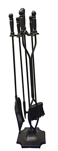 Shop4Omni Black Wrought Iron Fireplace Fire Pit Toolset - 5-piece Tool Set (Fireplace 5 Set Piece)