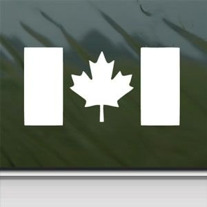 Canada Flag Canadia White Sticker Decal Maple Leaf Drapeau White Car Window Wall Macbook Notebook Laptop Sticker Decal