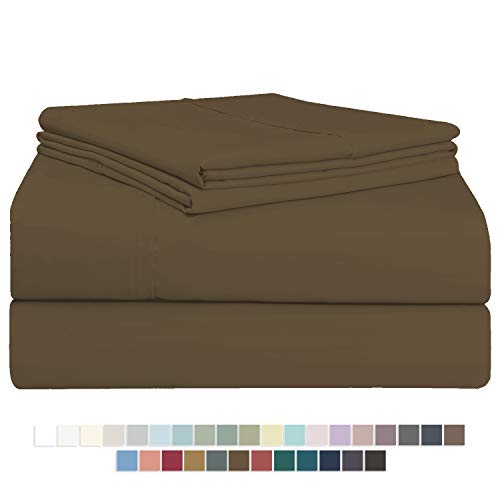 Pizuna 400 Thread Count Cotton King Size Sheet Set Toffee, 100% Long Staple Cotton Soft Sateen Bed Sheets with Stylish 4 inch Hem, fit Upto 15 inch Deep Pocket (100% Cotton Toffee Sheets King)