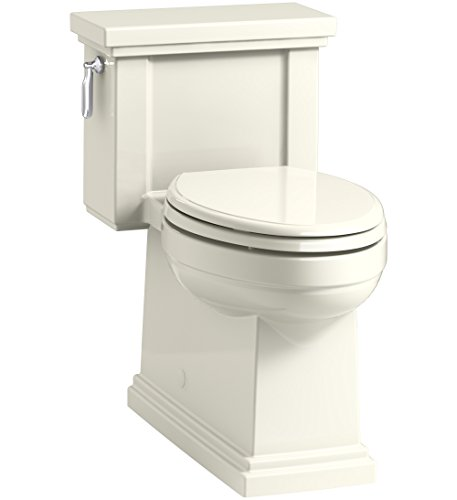 (KOHLER K-3981-96 Tresham Comfort Height Skirted One-Piece Compact Elongated Toilet with Aquapiston Flush Technology and Left-Hand Trip Lever, Biscuit)