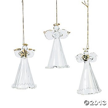 Angels Ornaments (One Dozen Spun Glass Angel Ornaments/CHRISTMAS Tree Ornaments)