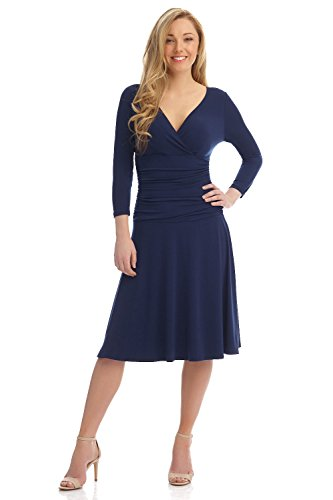 Rekucci Women's Slimming 3/4 Sleeve Fit-and-Flare Crossover Tummy Control Dress (8,Navy)
