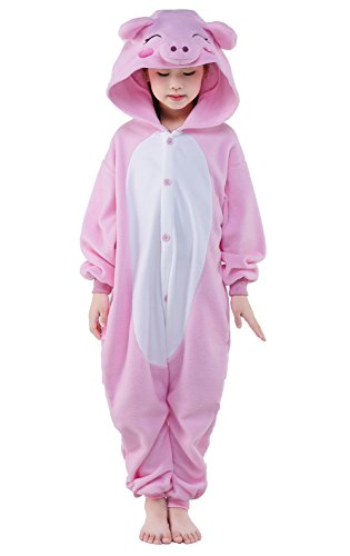 NEWCOSPLAY Children Unisex Pajamas Kids Animal Costume Cosplay(Pink Pig,125)
