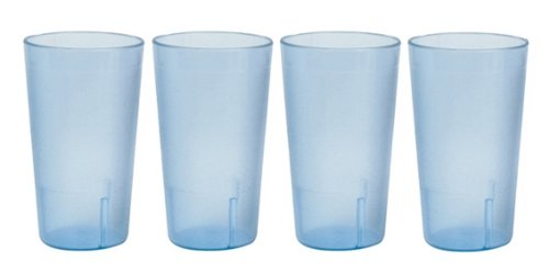 - 32 oz. (Ounce) Restaurant Tumbler Beverage Cup, Stackable Cups, Break-Resistant Commerical Plastic, Set of 4 - Blue