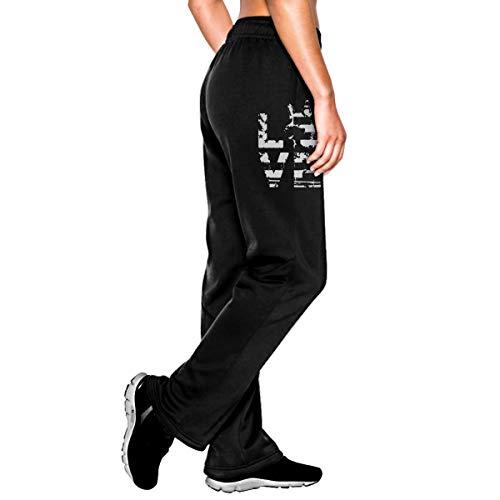 Womens Jogger Sweatpants Love German Shepherd USA Flag Elastic Waist Fleece Pants Black ()