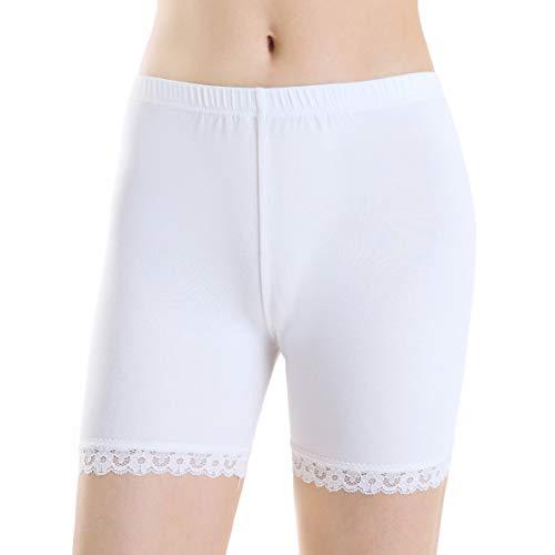 Ferrieswheel Story Women Ultra Stretch Legging Tights Shorts Knee Length Under Skirt Pants Fitness Ivory -