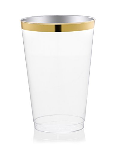 DRINKET Gold Plastic Cups 12 oz Clear Plastic Cups / Tumblers Fancy Plastic Wedding Cups With Gold Rim 50 Ct Disposable For Party Holiday and Occasions SUPER VALUE - Rim Glasses Gold With