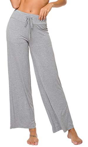 WiWi Women's Bamboo Wide Leg Sleep Lounge Pants Lightweight Pajama Bottoms Pants S-XXXXL(4XL), Heather Grey, Small