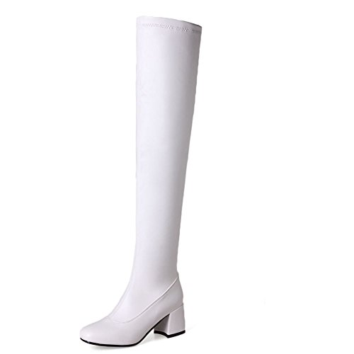 Platform Stretch Dress Over Boot KingRover Knee Leather Heel the Thigh Square Women's White Toe High p5cOqa