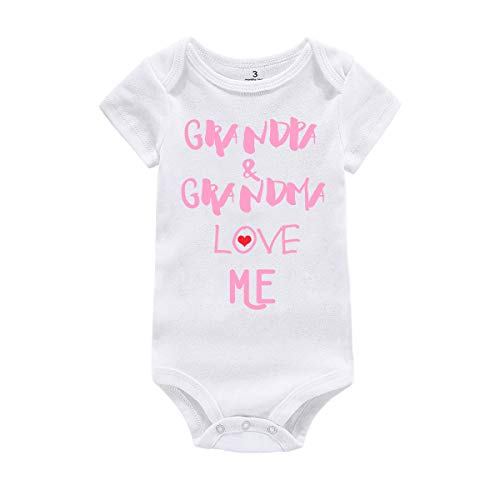 Baby Boy Girl Bodysuit Outfit Grandma Grandpa Love Me Bodysuit T-Shirt Clothing (White Pink Short Sleeve, tag 3)