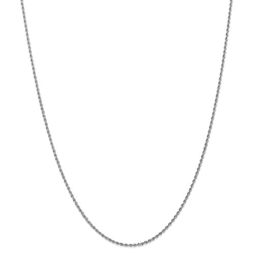 Roy Rose Jewelry 14K White Gold 1.75mm Handmade Regular Rope Chain Necklace ~ Length 16'' inches - 16' Regular Rope Chain