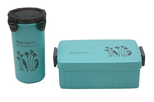 Tosaa Plastic Lunch Box Set, 2-Pieces, Solid Turquoise Blue