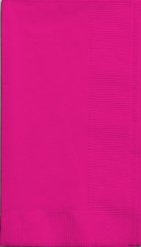 Creative Converting Touch of Color 2-Ply 50 Count Paper Dinner Napkins, Hot Magenta - Hot Pink Napkins