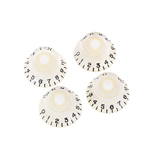 Musiclily Pro Imperial Inch Size Bell Top Hat Knobs for USA Made Gibson Les Paul Style Electric Guitar, White (Set of 4)