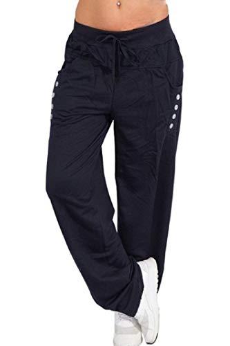 Taille Femme Casual Élastique Bleu Yacun De Bouton Harem Pantalon Foncé n4SqPXx