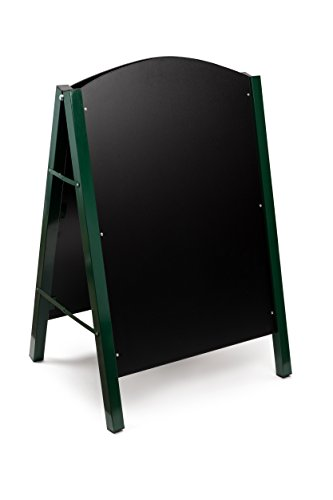 Alpine Industries Steel Double Sided Standing Menu Board - Chalkboard Sign - Sandwich Memo Board - Chalk Included (Green) ()