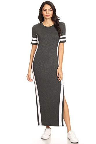 - Vibe Sportswear Short Athletic SLV with 2 Side Slit Maxi Dress (Charcoal White, Medium)