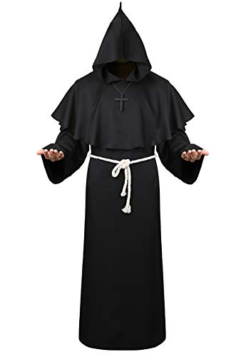 (Halloween Cosplay Costume Cloak Medieval Friar Priest Monk Robe Hooded Cap Cloak for Wizard Sorcerer Black 2XL)