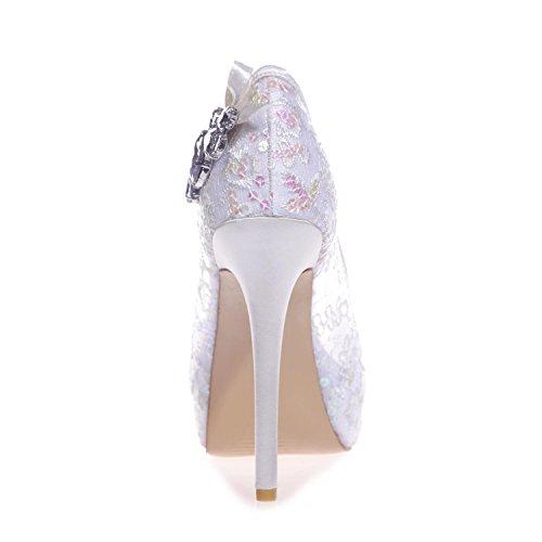 Del 3128 Gold A Pie Mira La Rhinestone Mujeres Bomba De Satén Tacones Cordón Altos Las Nupciales Escondidas Que yc Zapatos L Dedo 35 BFqxn85
