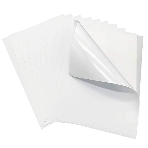 (Pack of 100 Sheets-Permanent High Sticky Matte Self Adhesive Sticker A4 Paper for Laser/Inkjet/Toner Printer - Full Sheet Label)