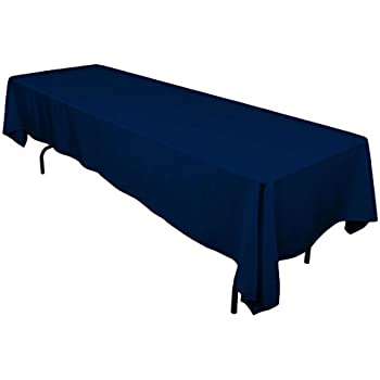 "Gee Di Moda Rectangle Tablecloth - 60 x 126"" Inch - Navy Blue Rectangular Table Cloth for 8 Foot Table in Washable Polyester - Great for Buffet Table, Parties, Holiday Dinner, Wedding & More"