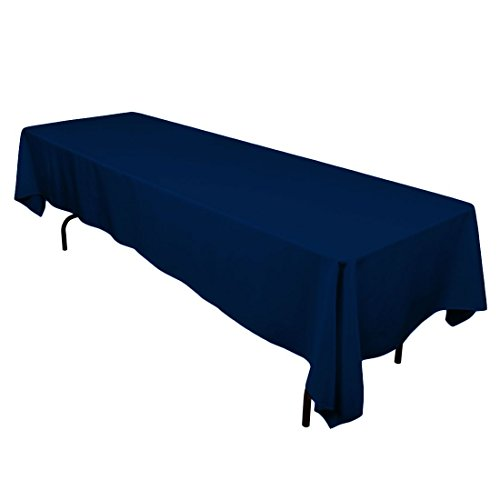 LinenTablecloth 60 x 126-Inch Rectangular Polyester Tablecloth Navy Blue