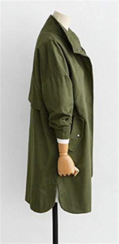 Tasche Moda Autunno Military Invernali Monocromo Cappotti grün Confortevole Outdoor Elegante Manica Vita Festa Ragazze Alta Con Cerniera Armee Anteriori Lunga Casual Style Jacket Donna Button Trench wIa5qFzx