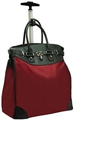 Solid Rolling 14-inch Laptop Travel Tote Wine Color ()