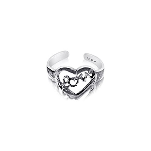 Sterling Silver 925 Heart Love Design Toe Ring. Nickel Free Adjustable Solid Band One Size Fits All