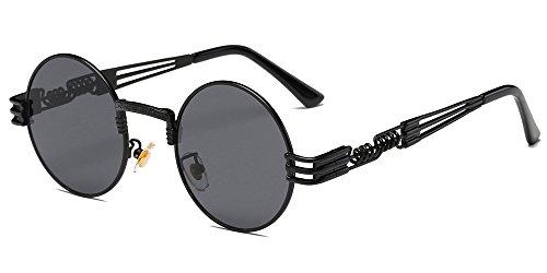 lentille Noir Lunettes cadre Steampunk Circle BOZEVON Round gris Metal Retro et de pour Style inspiré soleil femmes hommes fBwqS4T