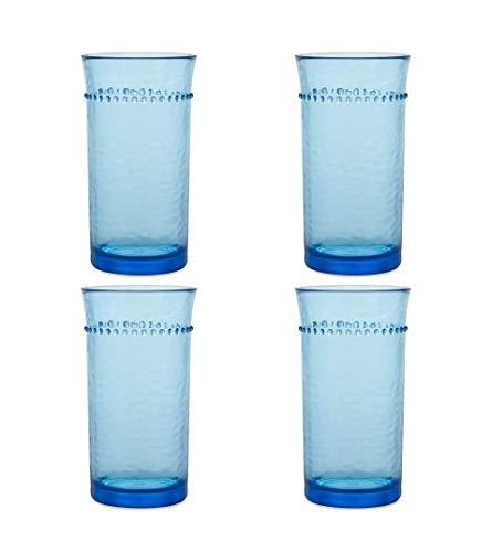 Blue Hobnail Highball Plastic Glass 3.4