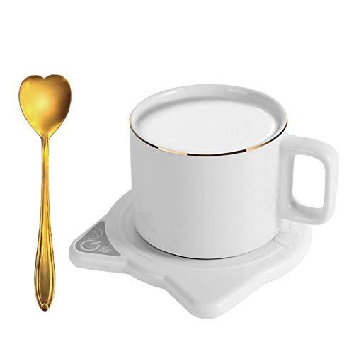 Coffee Mug warmer,Smart Electric Cup warmer with gold spoon and Auto Shut Off for Desk Beverage, Warm Up Beverages Tea…