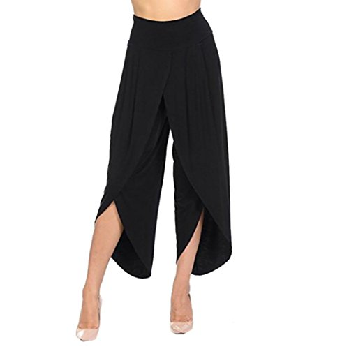 Clearance Womens Trousers vermers Women's Layered Wide Leg Flowy Pants High Waist Irregular Cross Wide Legs Pants(S, Black) by vermers