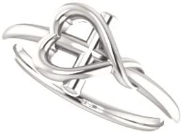 Girls Cross with Heart Sterling Silver Youth Ring