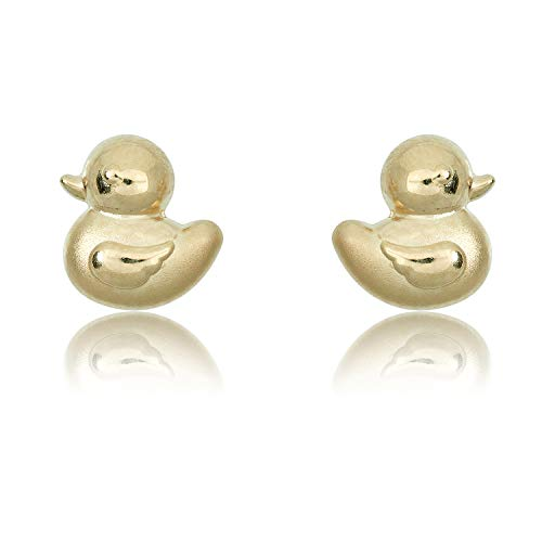 10K Yellow Gold Duck Screw Back Stud Earrings