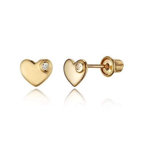 14k Yellow Gold Plain Heart Cubic Zirconia Children Screwback Baby Girls Stud Earrings