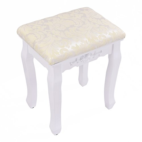 Giantex Vanity Stool Makeup Bench Dressing Stools Retro Wave Foot Floor Pad for Scratch Solid Pine Wood Legs Thick Padded Cushioned Chair Piano Seat Bathroom Bedroom Large Vanity Benches, White