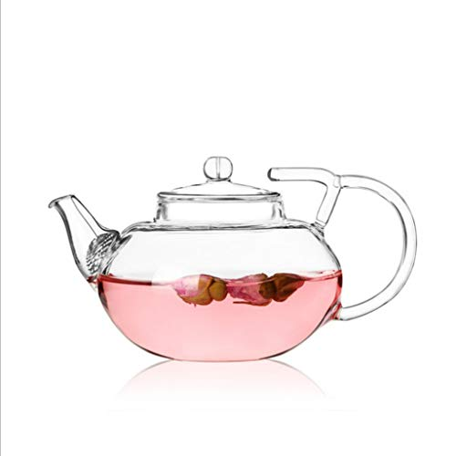 LXYFMS High Temperature Resistant Borosilicate Glass Flower Teapot, Anti-shedding Double Handle Gland Pot, Heat Resistant Glass Tea Set, Transparent Teapot teapot - Double Handle Teapot