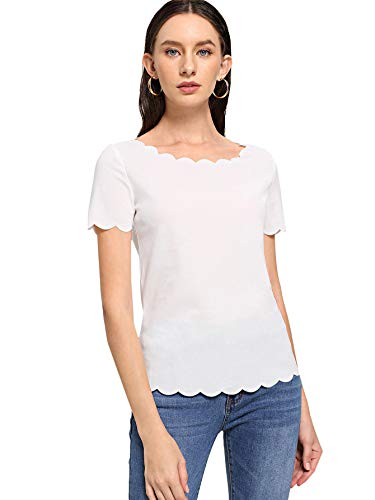 Romwe Women's Elegant Scalloped Edge Short Sleeve Round Neck Summer Tee Tops White Small