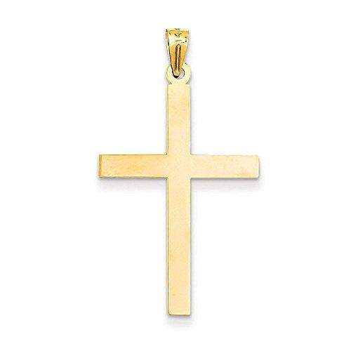 14k Engraveable Cross Pendant (14k Gold Engraveable Cross Charm Pendant (1.5 in x 0.75 in))