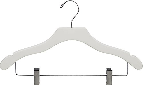 (The Great American Hanger Company Wooden Combo White Finish Hanger with Clips and Notches (Box of 25))