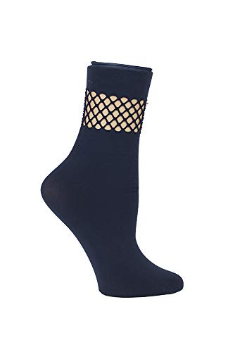 Steve Madden Legwear Women's Fishnet Detail at Anklet SM42011, Navy, One Size ()