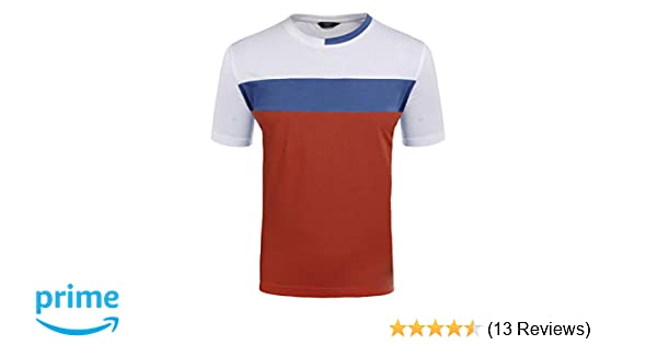 6084e416fd10 Amazon.com  COOFANDY Mens Short Sleeve T-Shirts Slim Fit Contrast Color  Stitching Casual Crew Neck Tee Summer  Clothing