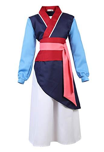 Mulan Halloween Costume (Famajia Girls Heroine Hua Mulan Costume Dress up Deluxe Halloween Cosplay Outfit Fancy Dress Navy)