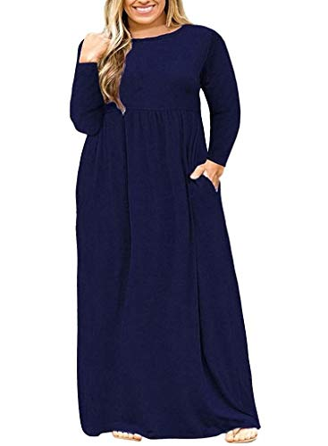 (POSESHE Women's Plus Size Tunic Swing T-Shirt Dress Long Sleeve Maxi Dress Navy Blue 2XL)